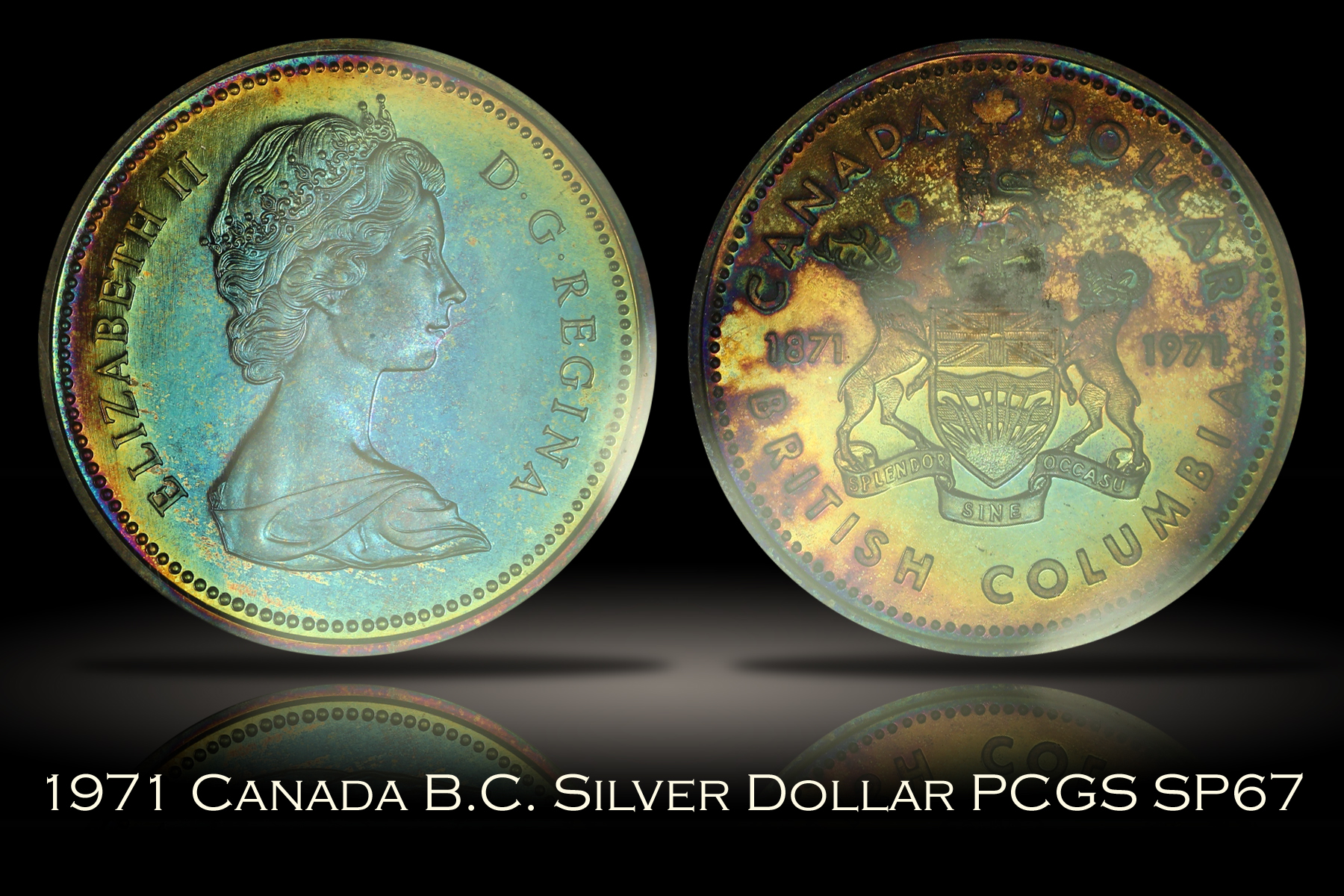 1971 Canada British Columbia Silver Dollar PCGS SP67