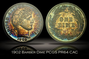 1902 Proof Barber Dime PCGS PR64 CAC