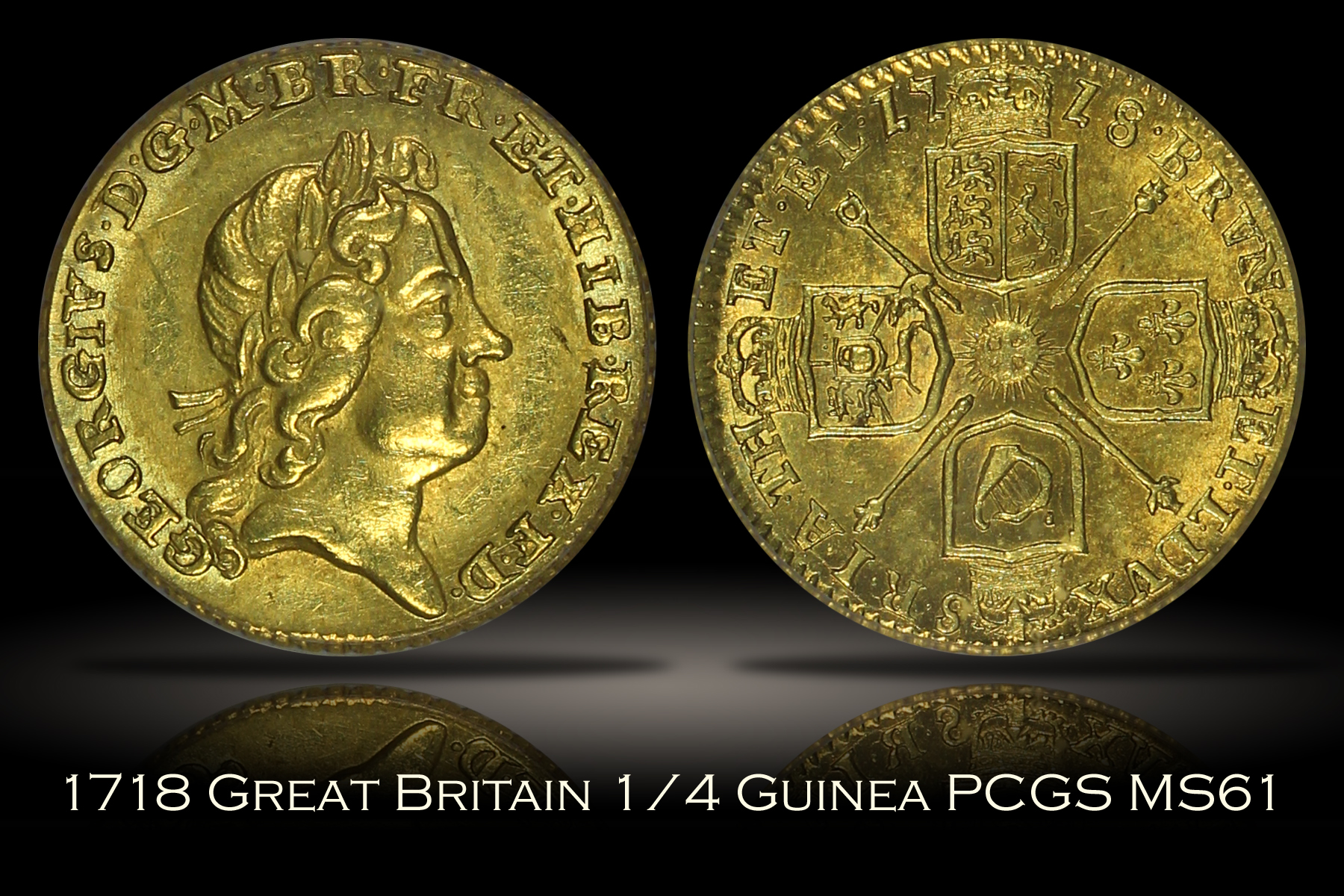 1718 Great Britain 1/4 Guinea Gold PCGS MS61