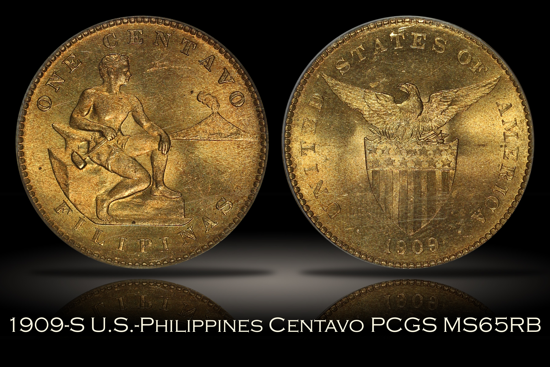 1909-S U.S.-Philippines One Centavo PCGS MS65RB