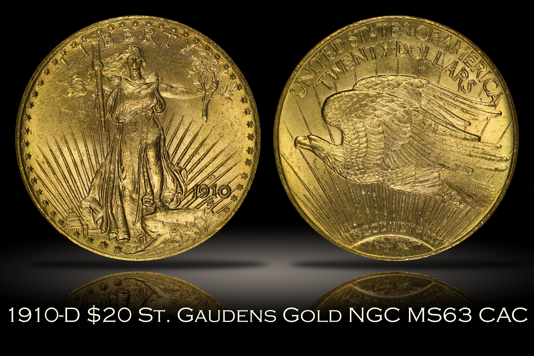 1910-D $20 St. Gaudens Gold NGC MS63 Old Holder
