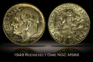 1949 Roosevelt Dime NGC MS66