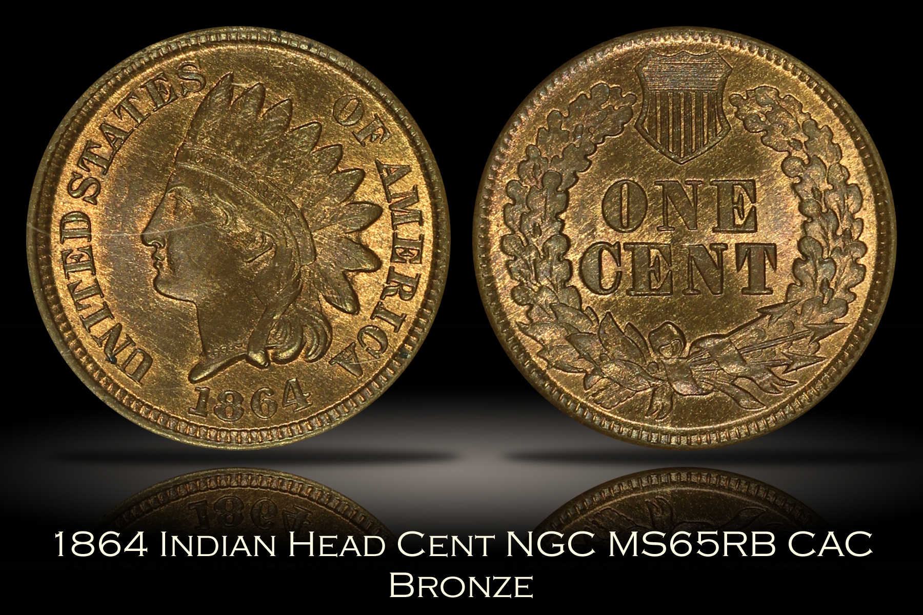 1864 Bronze Indian Head Cent NGC MS65RB CAC