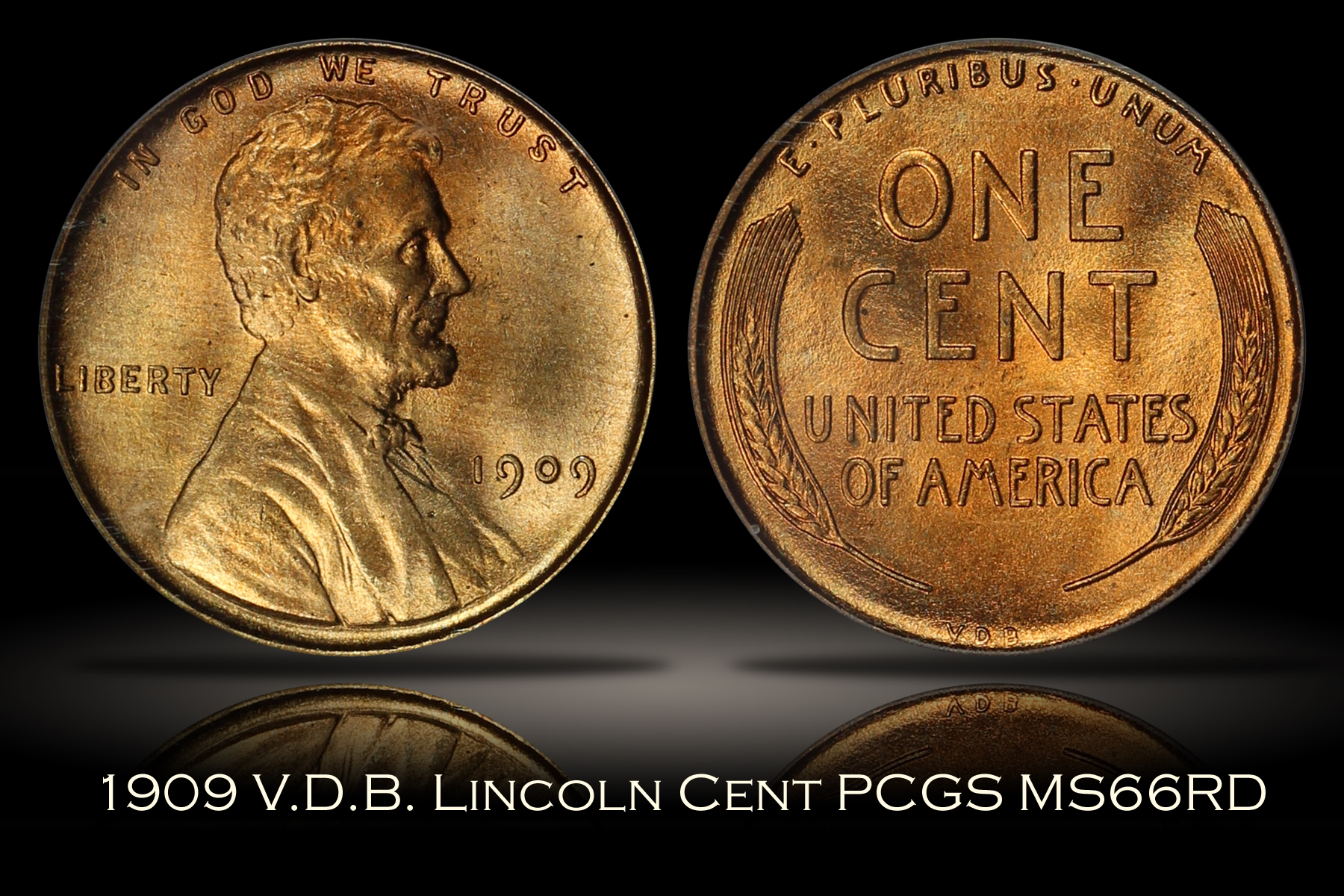 1909 VDB Lincoln Cent PCGS MS66RD