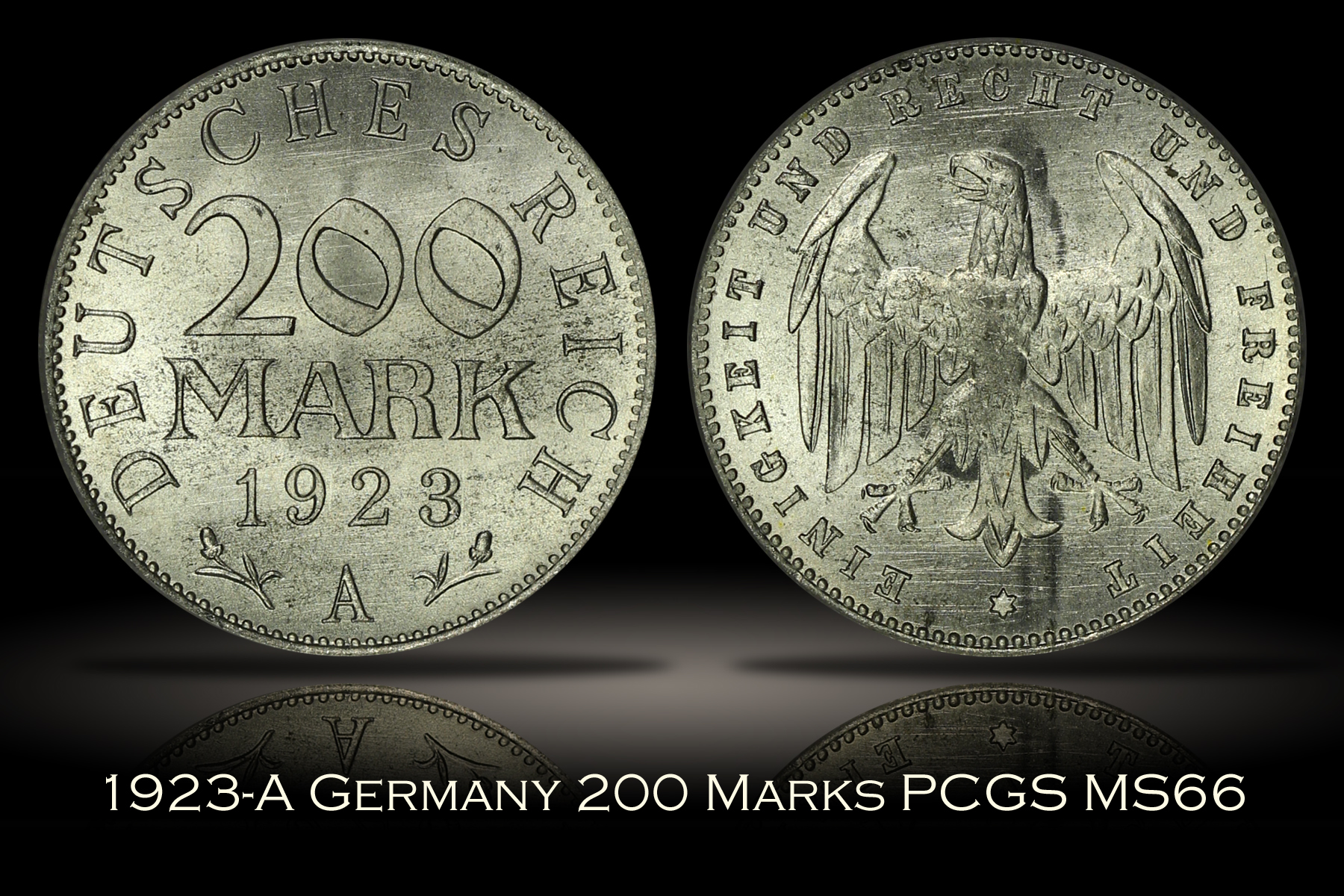 1923-A Germany 200 Mark PCGS MS66