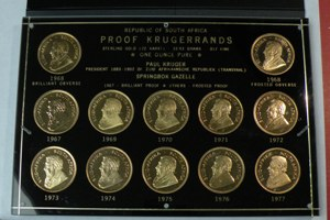 Set of 12 Proof South Africa Gold Krugerrands 1967-1977