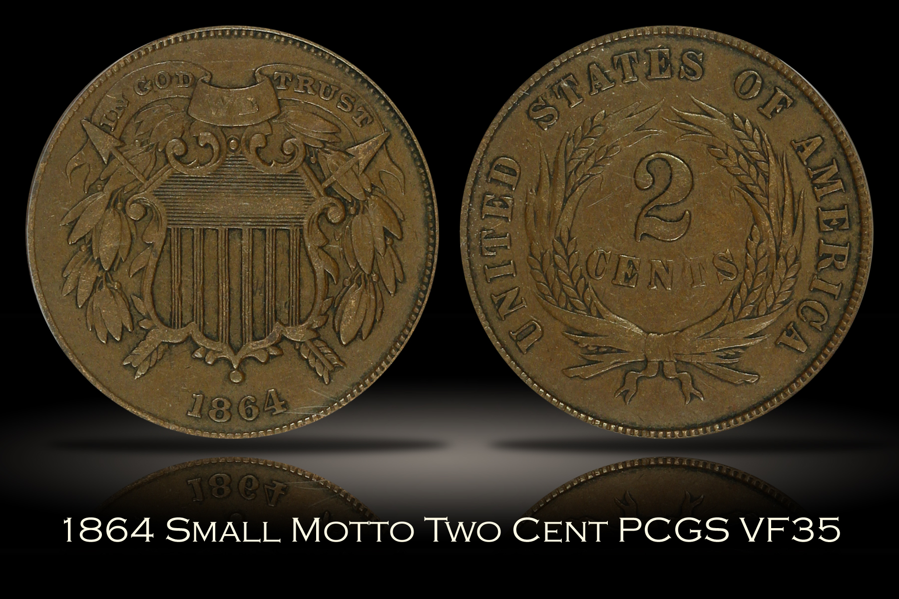 1864 Small Motto Two Cent PCGS VF35