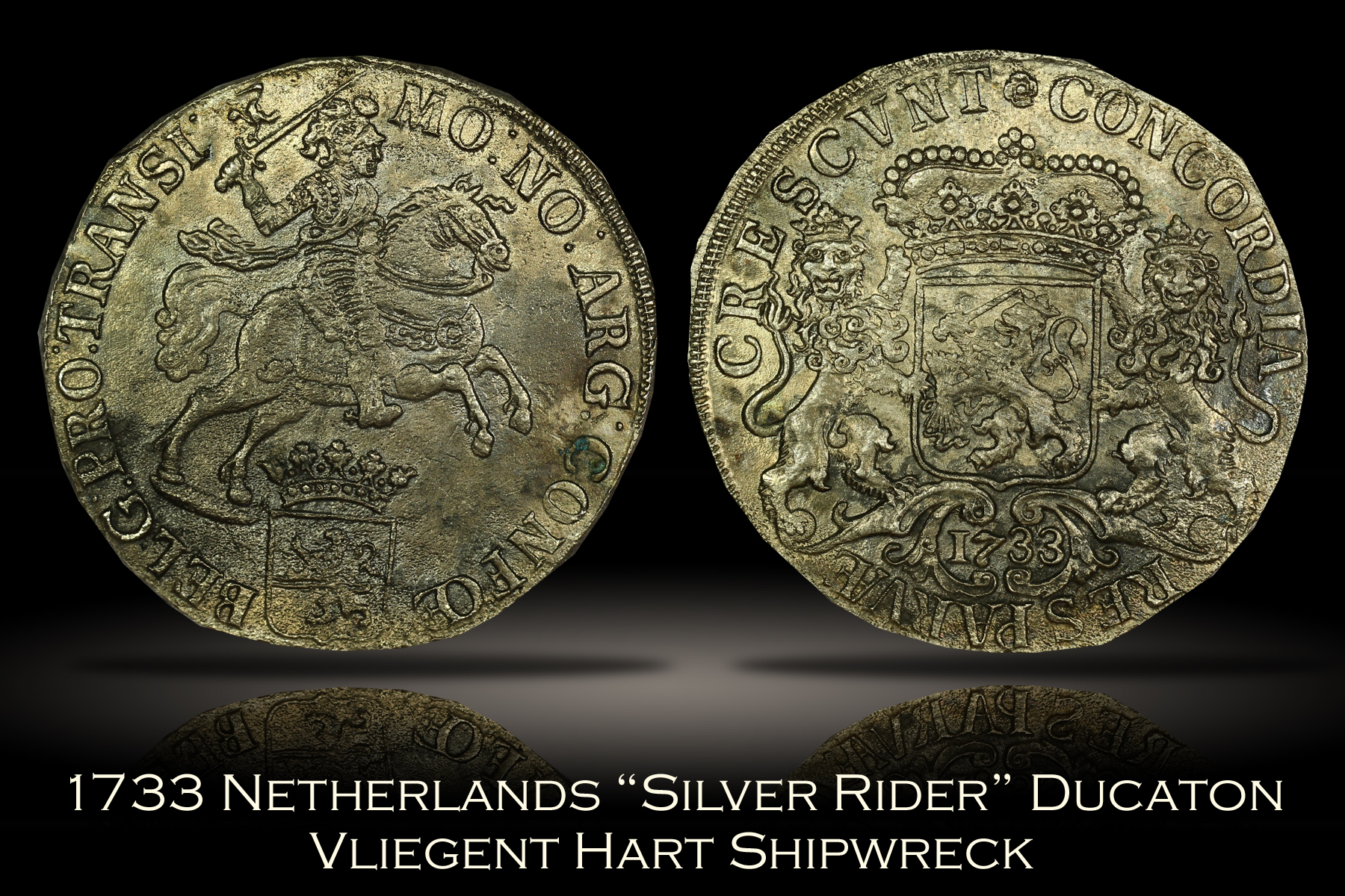 1733 Netherlands Silver Rider Ducaton Shipwreck Coin