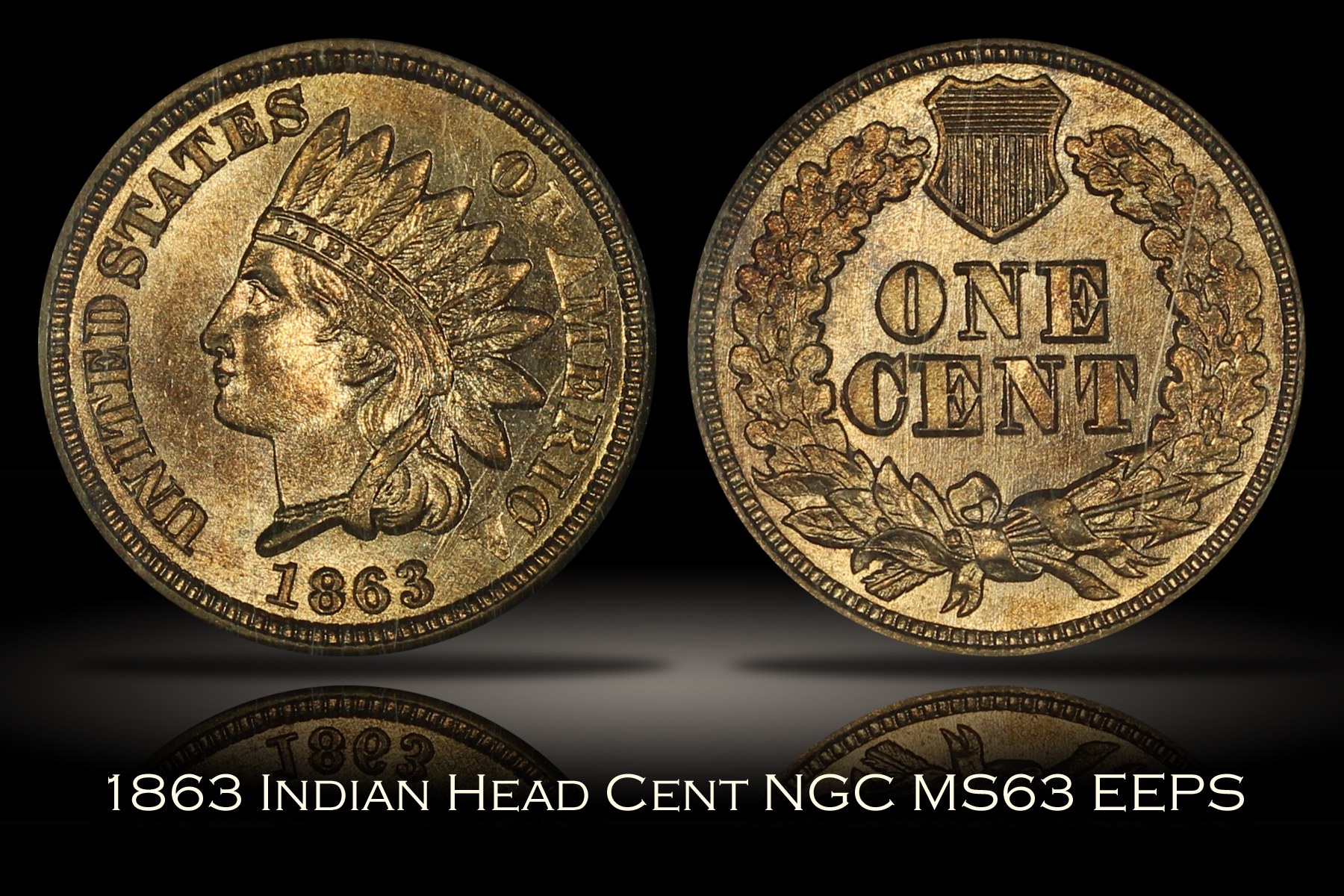 1863 Indian Head Cent NGC MS63 EEPS