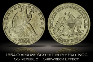 1854-O Arrows Seated Liberty Half Dollar SS Republic Shipwreck Effect