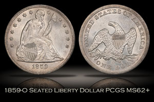 1859-O Seated Liberty Silver Dollar PCGS MS62+
