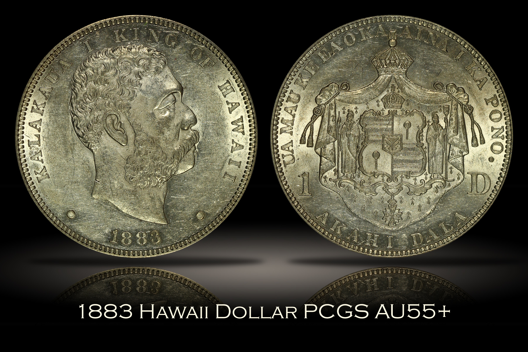 1883 Hawaii Silver Dollar PCGS AU55+