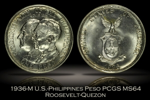 1936-M U.S.-Philippines Commemorative Roosevelt-Quezon One Peso PCGS MS64
