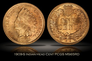 1909-S Indian Head Cent PCGS MS65RD