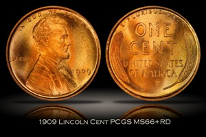1909 Lincoln Cent PCGS MS66+RD