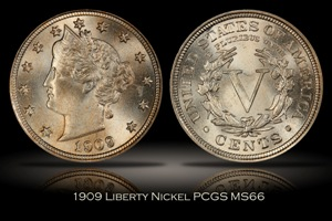 1909 Liberty Nickel PCGS MS66