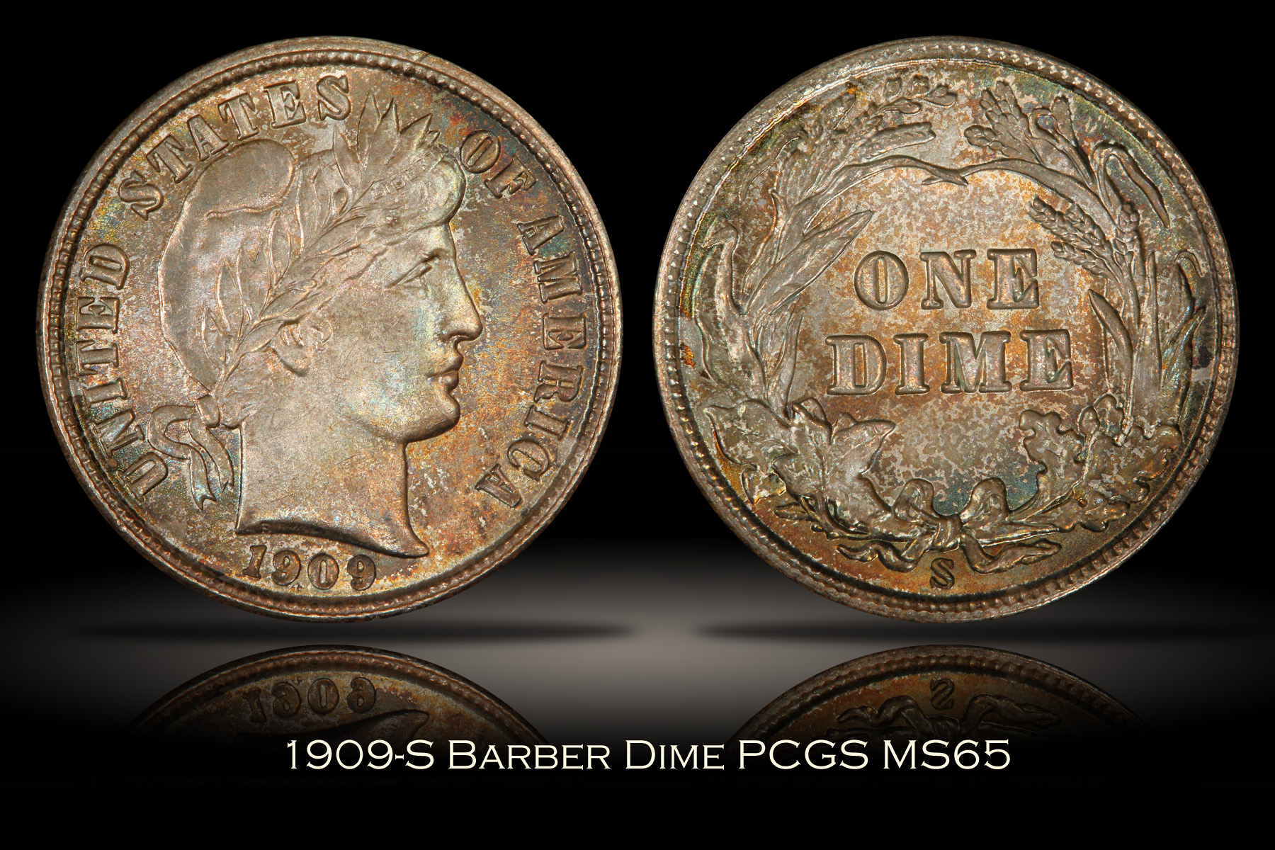 1909-S Barber Dime PCGS MS65