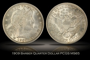 1909 Barber Quarter PCGS MS65