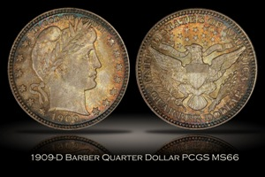 1909-D Barber Quarter PCGS MS66