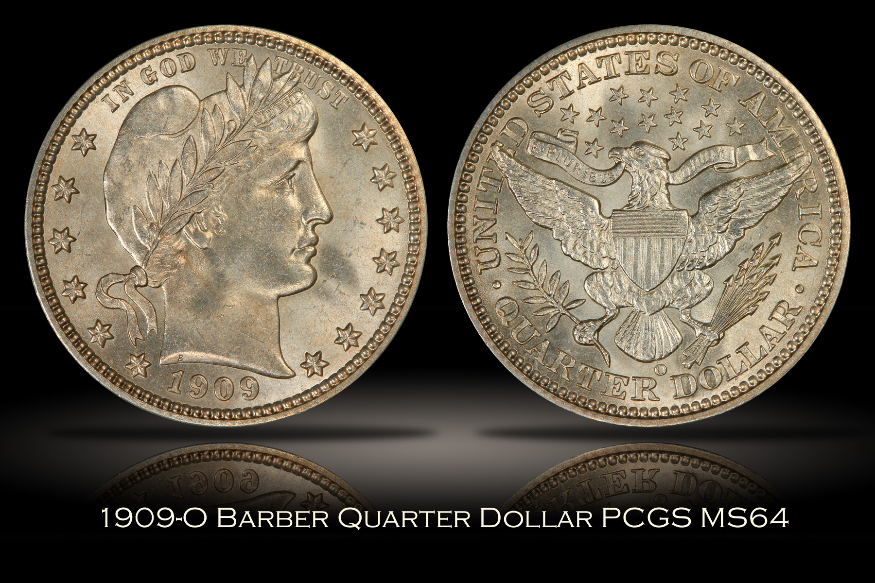 1909-O Barber Quarter PCGS MS64