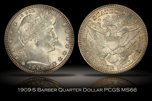 1909-S Barber Quarter PCGS MS66