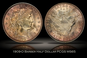 1909-O Barber Half Dollar PCGS MS65