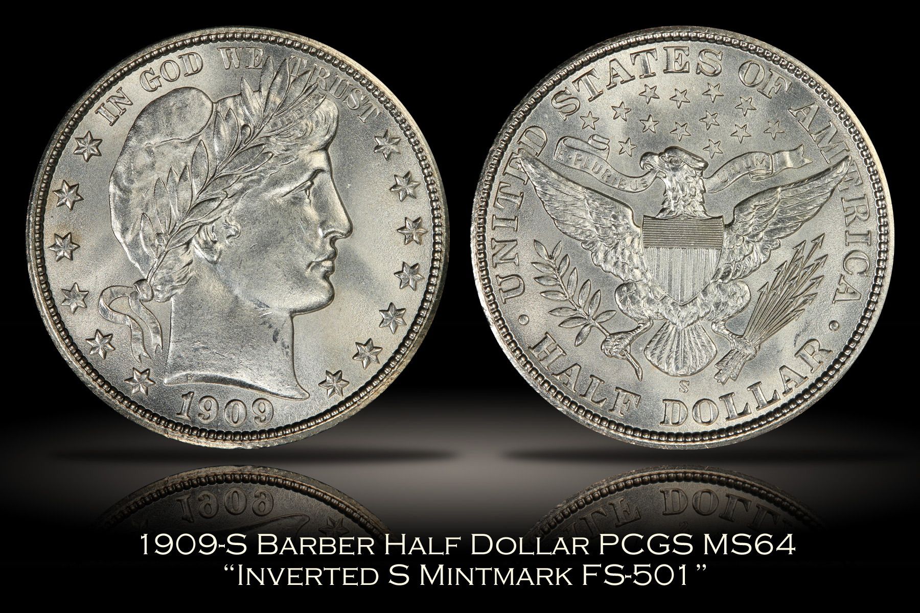 1909-S Barber Half FS-501 Inverted Mintmark PCGS MS64