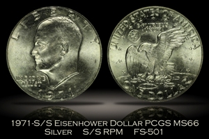1971-S/S Silver Eisenhower Dollar RPM FS-501 PCGS MS66