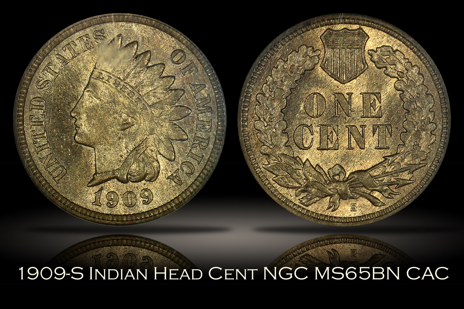 1909-S Indian Head Cent NGC MS65BN CAC