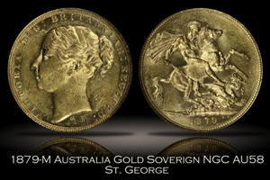 1879-M Australia Gold Sovereign NGC AU58 St. George