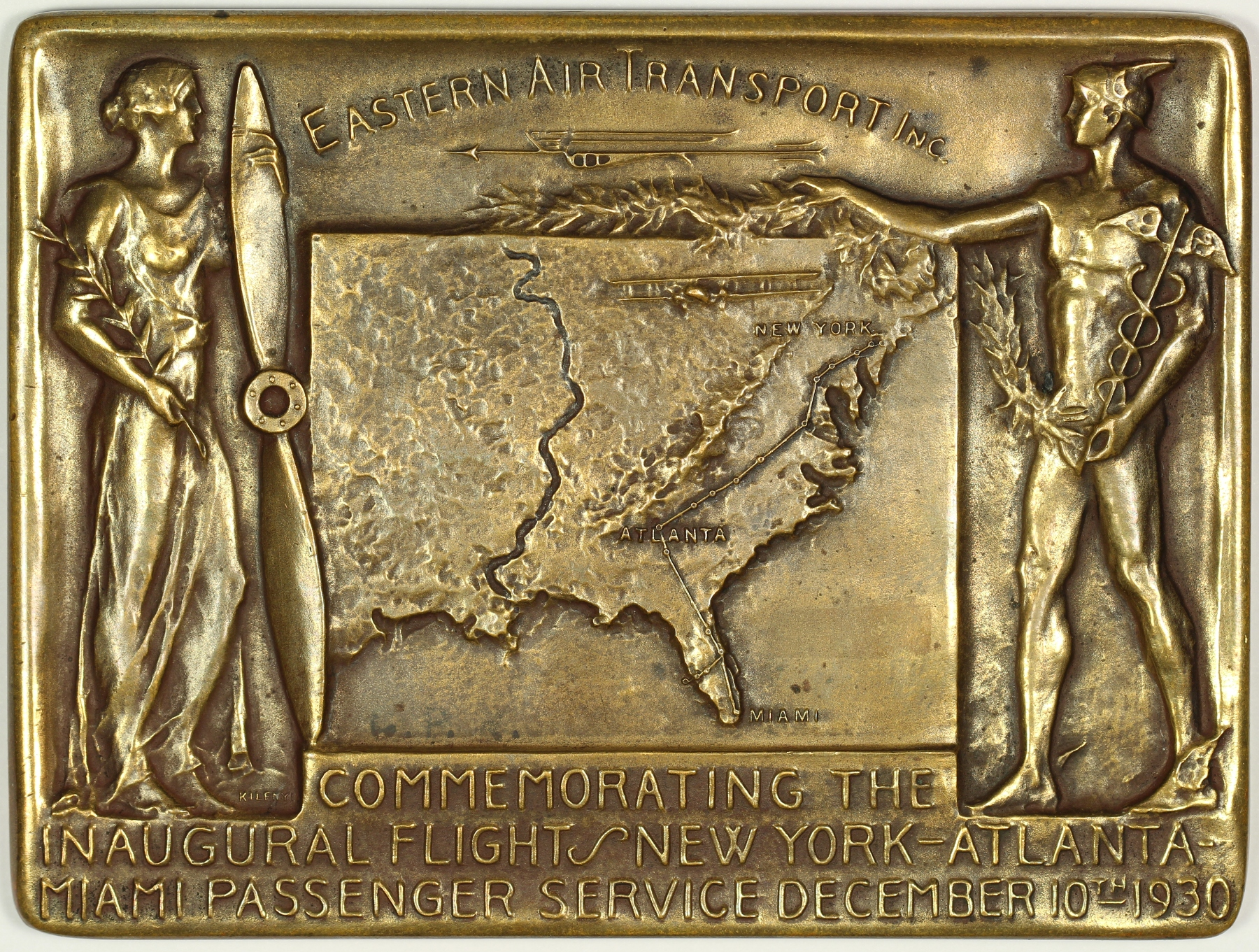 1930 Eastern Air Transport, Inc. Commemorative Bronze Medal 101mm x 76mm