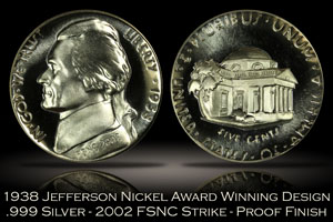 1938 Jefferson Nickel Award Winning Design FSNC 2002 Strike SEGS .999 Silver Set #745