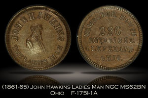 1861-65 John Hawkins The Ladies Man Token F-175I-1A NGC MS62BN