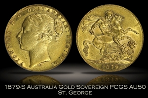 1879-S Australia Gold Sovereign PCGS AU50 St. George