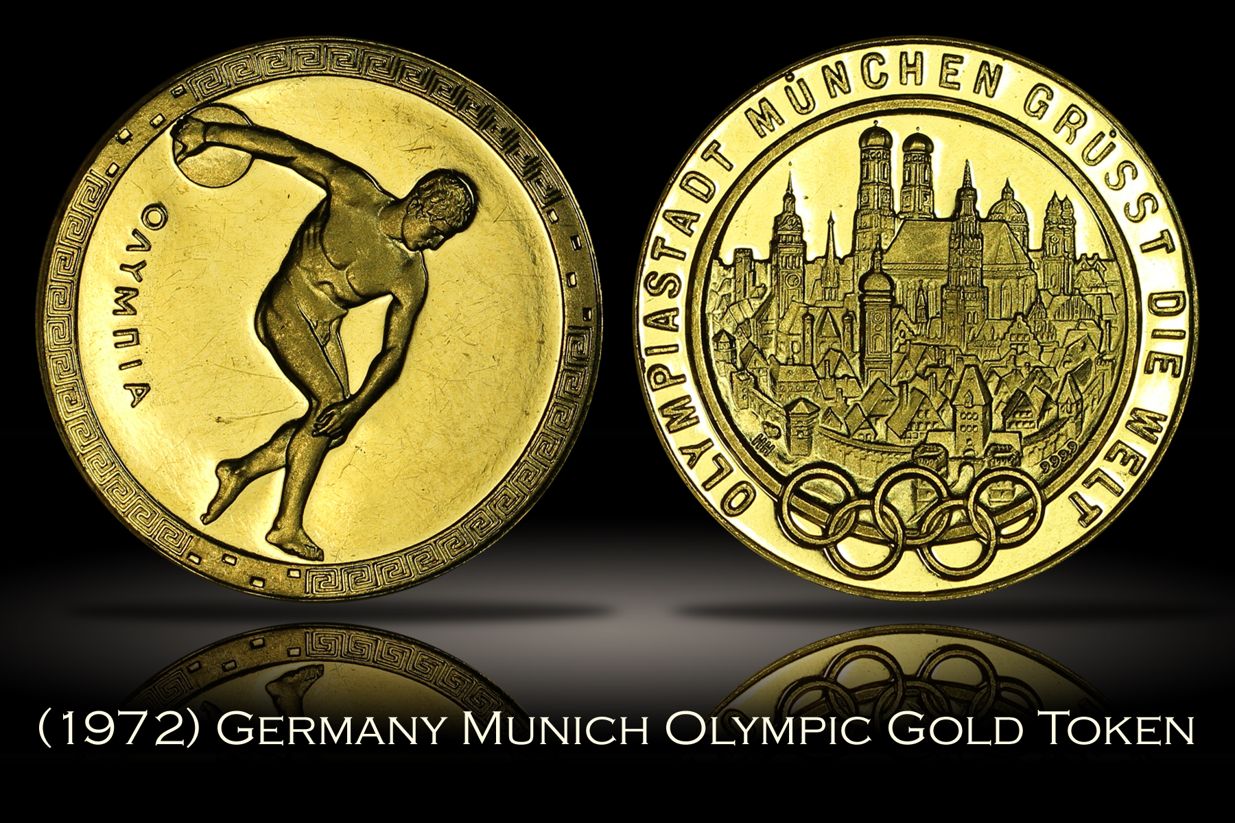 1972 Munich Summer Olympics .9999 Gold Medal Token 7.9 gram Quarter Ounce