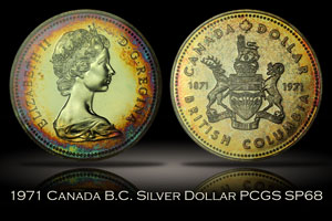 1971 Canada British Columbia Silver Dollar PCGS SP68