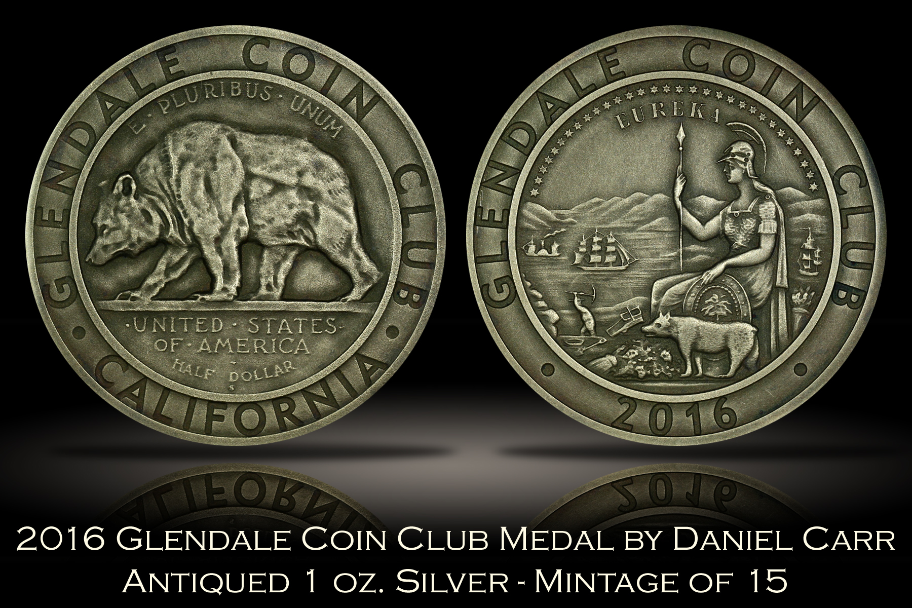 2016 Glendale Coin Club Antique Silver Medal by Daniel Carr
