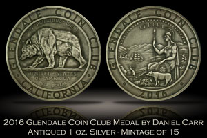 2016 Glendale Coin Club Antiqued Silver Medal by Daniel Carr