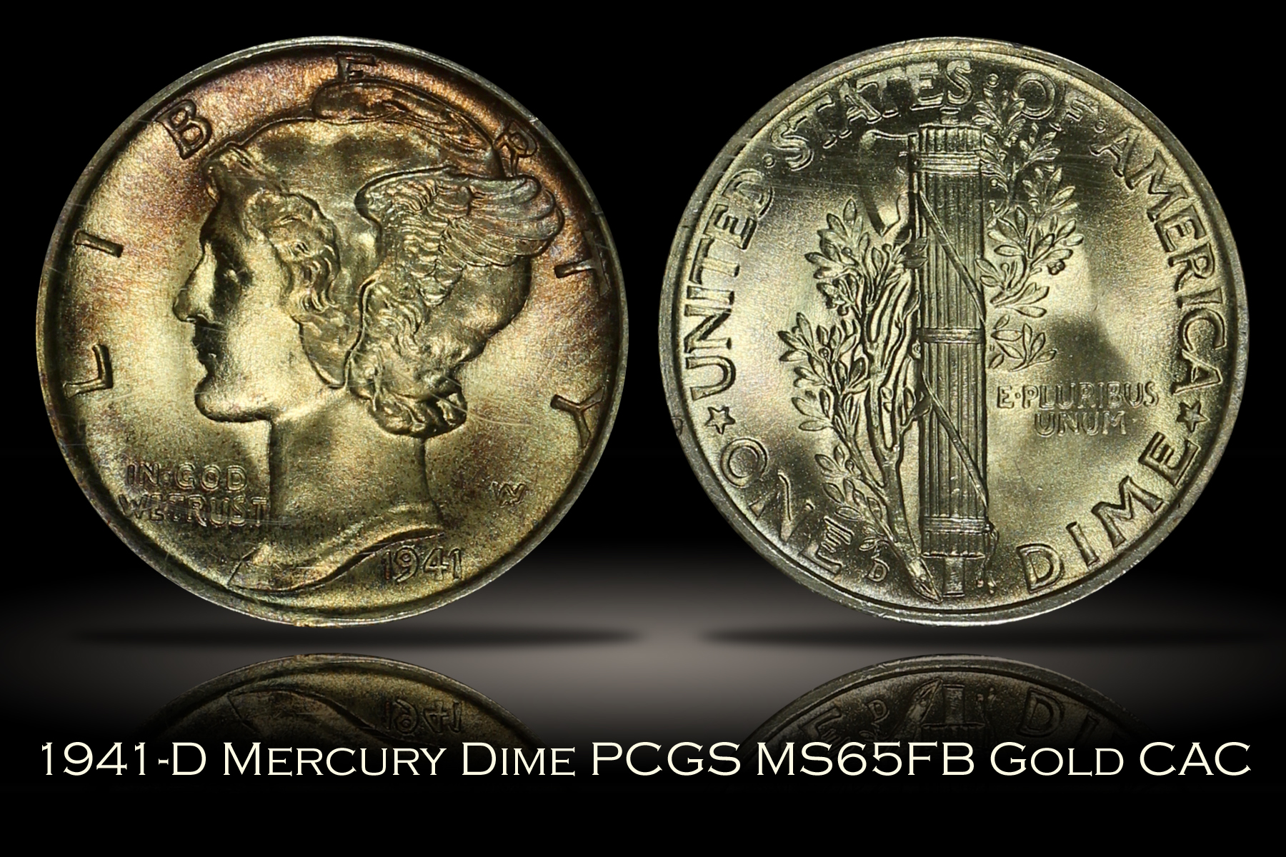1941-D Mercury Dime PCGS MS65FB OGH Rattler GOLD CAC