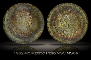 1962-Mo Mexico Peso NGC MS64