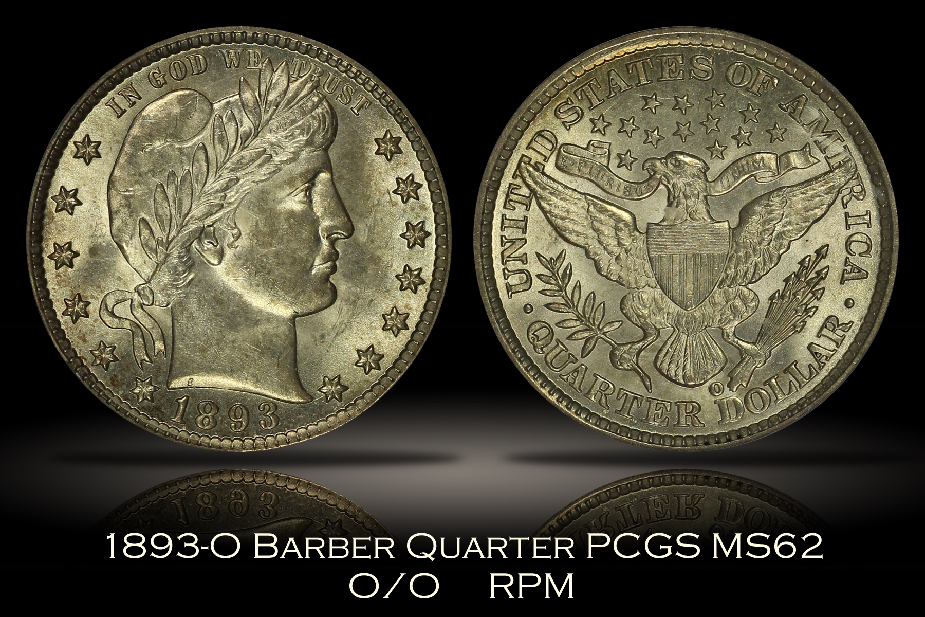 1893-O/O Barber Quarter PCGS MS62
