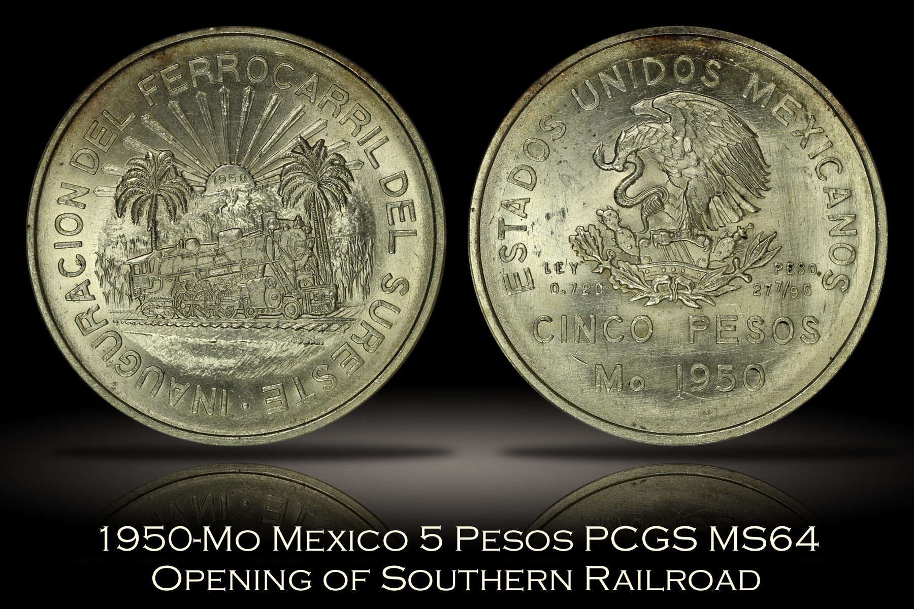 1950-Mo Mexico 5 Pesos Opening of Southern Railroad PCGS MS64