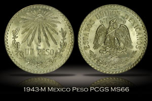 1943-M Mexico Peso PCGS MS66