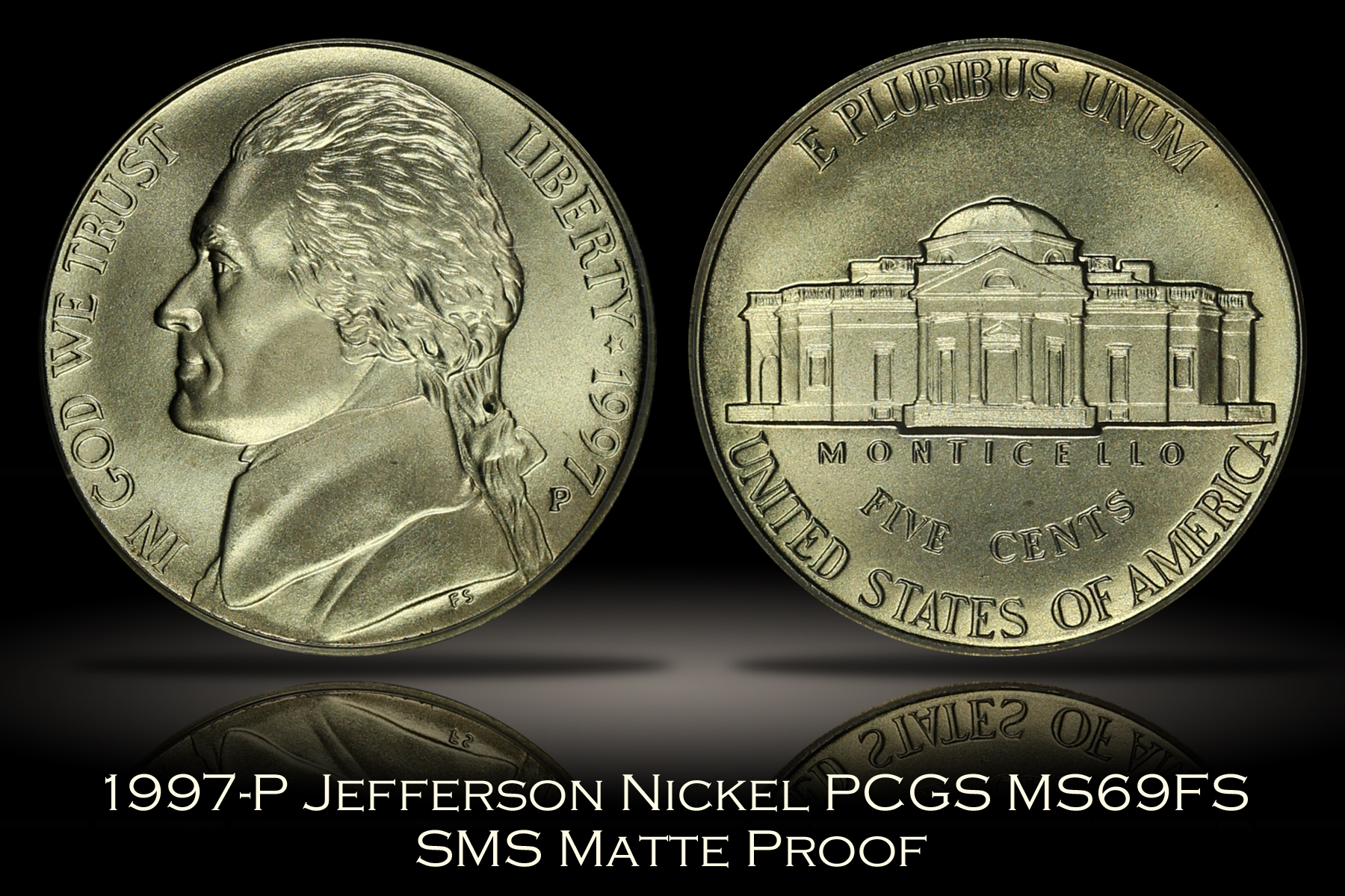 1997-P SMS Matte Proof Jefferson Nickel PCGS MS69FS