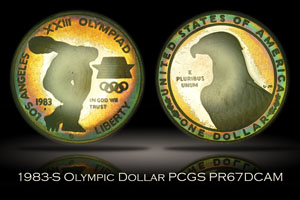 1983-S Proof Los Angeles Olympics Silver Dollar PCGS PR67DCAM