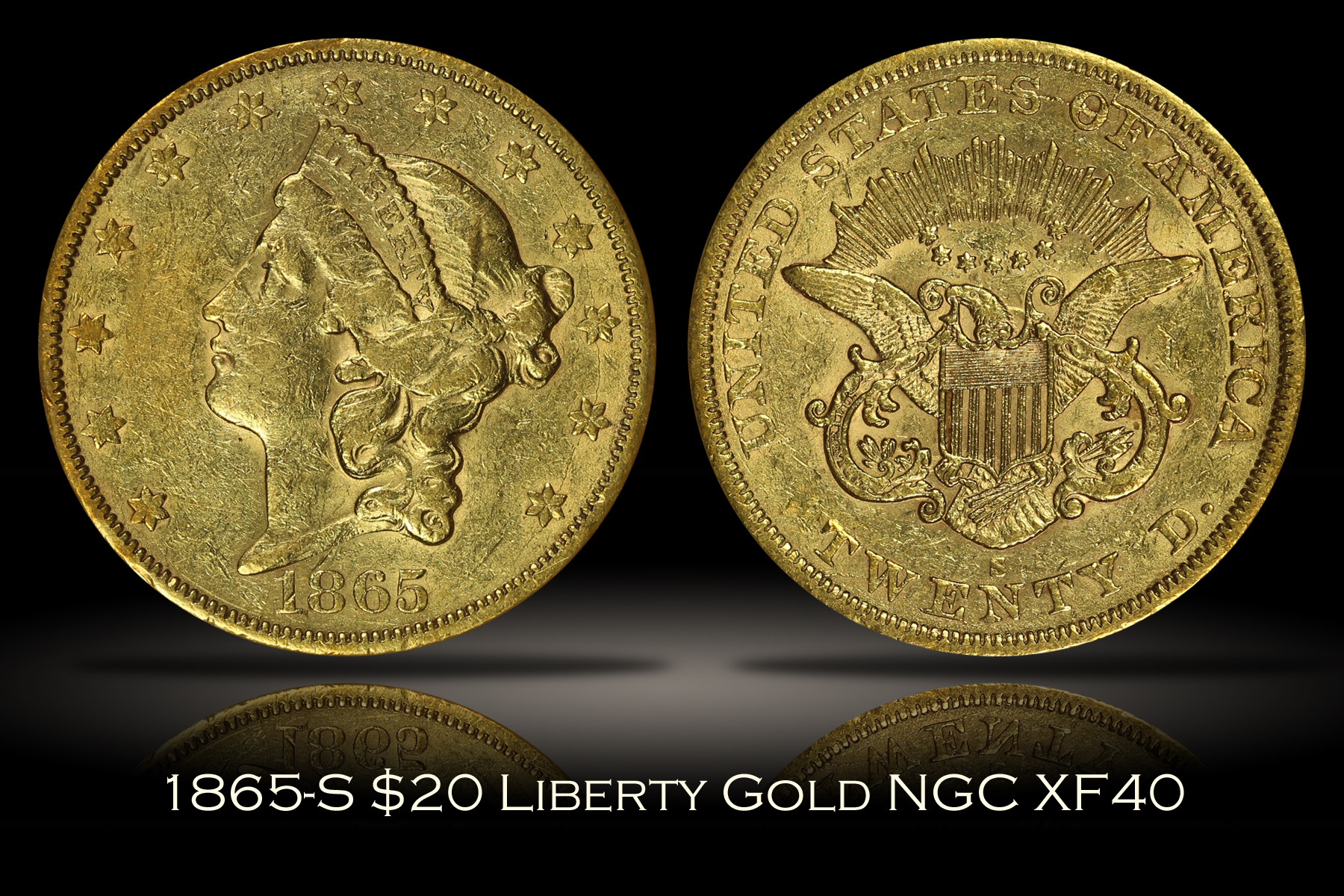 1865-S $20 Liberty Gold NGC XF40