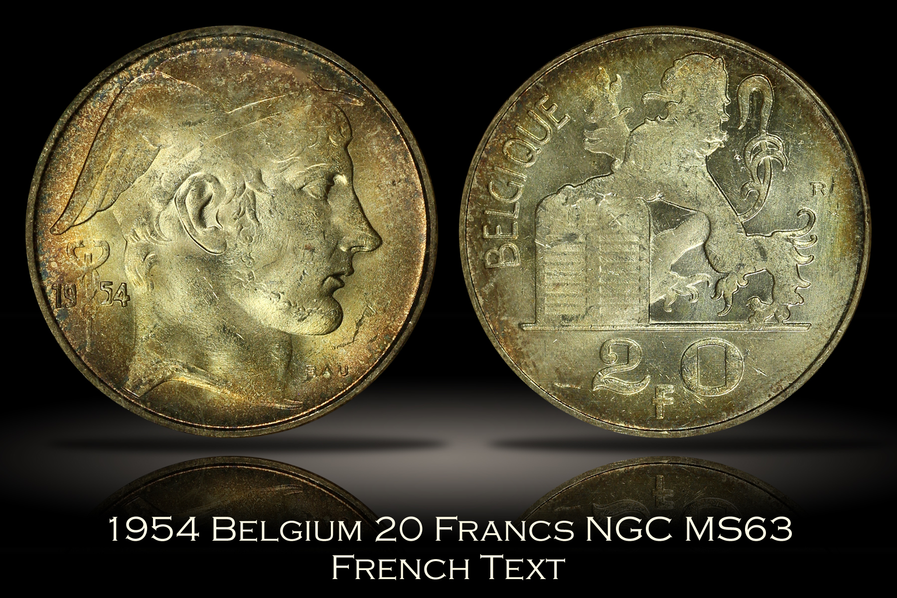 1954 Belgium 20 Francs French Text NGC MS63