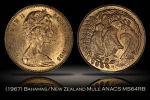 1967 Bahamas New Zealand 2 Cent Mule ANACS MS64RB