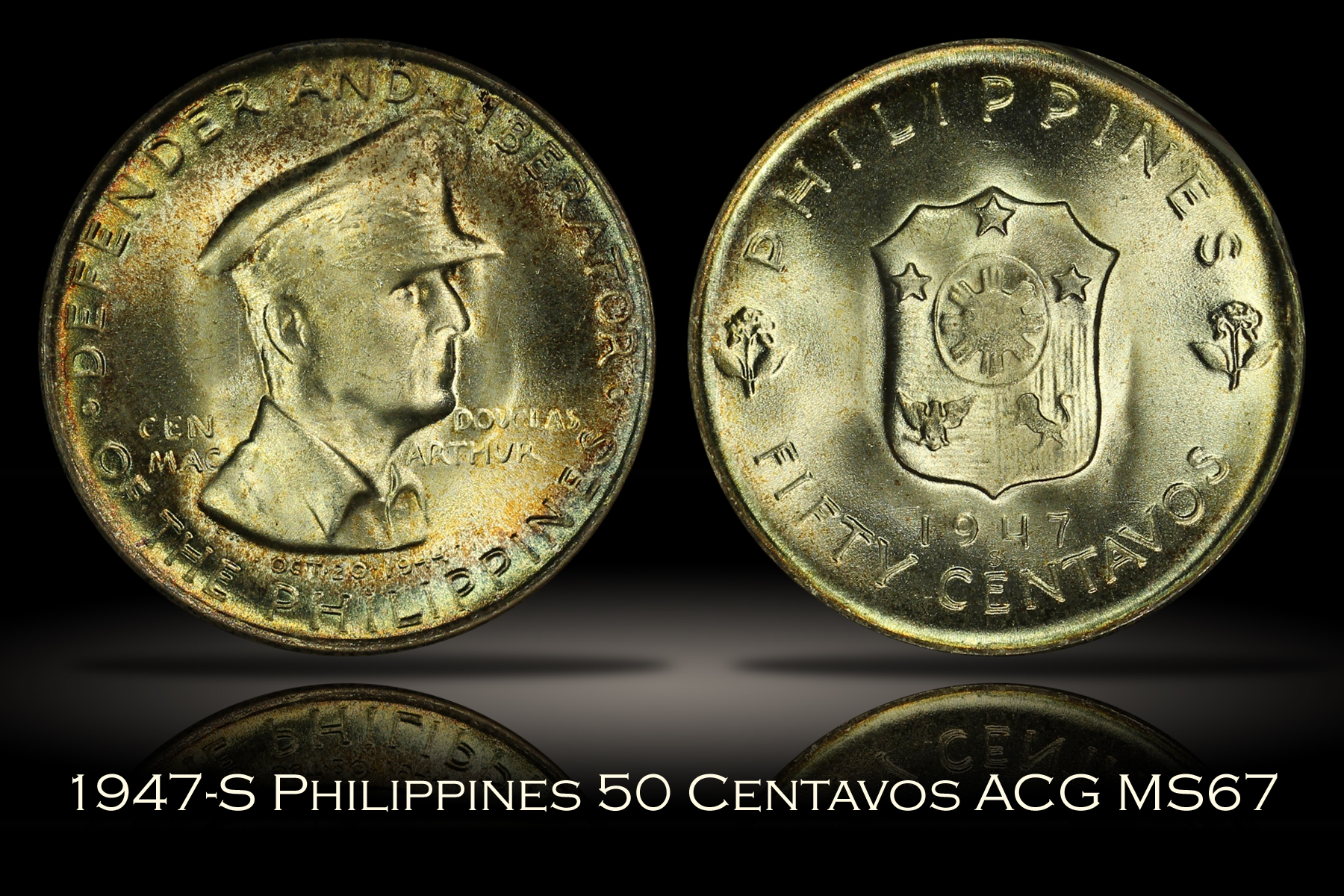 1947-S Philippines MacArthur 50 Centavos Accugrade MS67