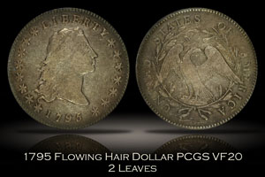 1795 Flowing Hair Silver Dollar 2 Leaves PCGS VF20